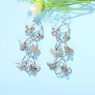 fashion multi-layer butterfly earrings retro forest insect long star wild earrings jewelry wholesale nihaojewelry NHJQ227700's discount tags