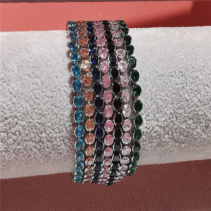 creative fashion copper-inlaid zircon single-layer bracelet low-key luxury super flash full diamond bracelet simple wholesale nihaojewelry NHJQ227701