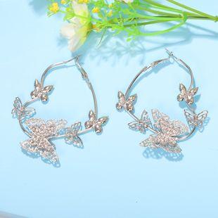 fashion retro butterfly shaped earrings three-dimensional hollow diamond mesh earrings wholesale nihaojewelry NHJQ227702's discount tags
