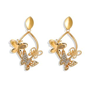 three-dimensional hollow butterfly and diamond super flash earrings fashion trend oval earrings wholesale nihaojewelry NHJQ227704's discount tags