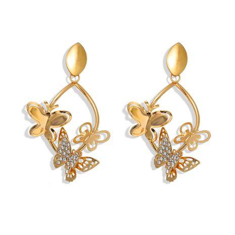 en trois dimensions creux papillon et diamant super flash boucles d'oreilles tendance de la mode boucles d'oreilles ovales en gros nihaojewelry NHJQ227704's discount tags