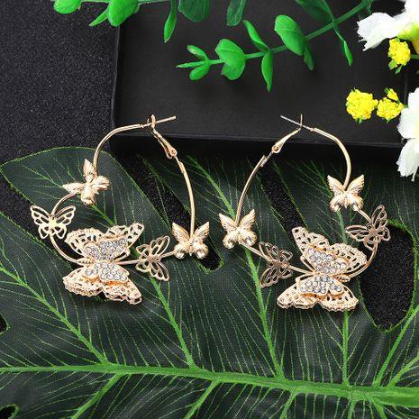 papillon rétro amour bague d'oreille en trois dimensions diamant creux papillon boucles d'oreilles longues en gros nihaojewelry NHJQ227705's discount tags
