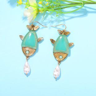 fish-shaped drop pearl earrings beach style wild multicolor resin earrings wholesale nihaojewelry NHJQ227707's discount tags