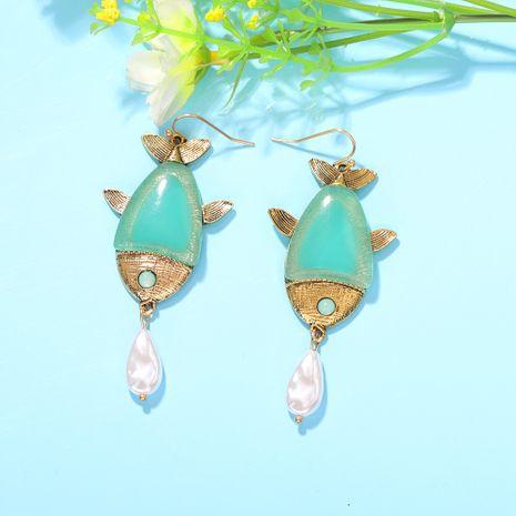 boucles d'oreilles en forme de poisson goutte perle plage style sauvage boucles d'oreilles en résine multicolore en gros nihaojewelry NHJQ227707's discount tags