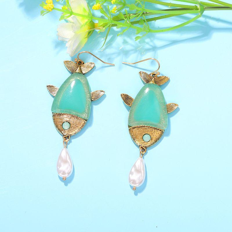 fishshaped drop pearl earrings beach style wild multicolor resin earrings wholesale nihaojewelry NHJQ227707