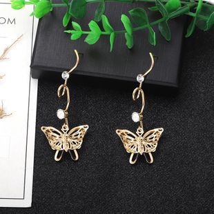 hollow butterfly multi-layer exaggerated long section simple earrings fashion three-dimensional wholesale nihaojewelry NHJQ227708's discount tags