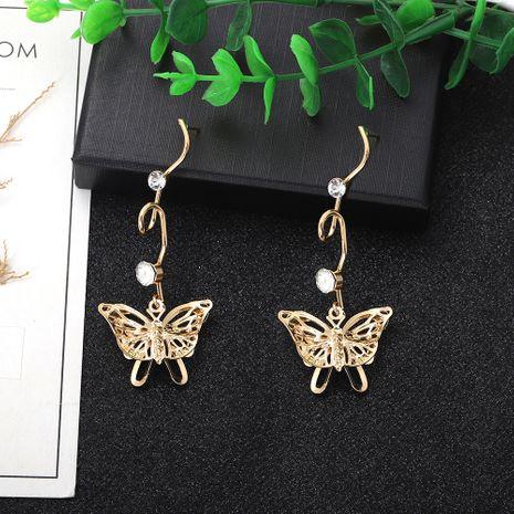 papillon creux multicouche exagéré longue section boucles d'oreilles simples mode en trois dimensions en gros nihaojewelry NHJQ227708's discount tags