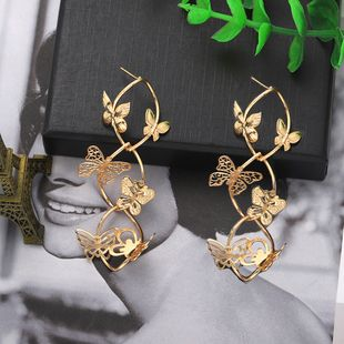 super fairy golden butterfly earrings retro forest multi-layer insect long earrings wholesale nihaojewelry NHJQ227709's discount tags