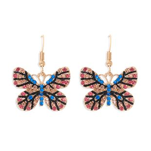 color diamond butterfly earrings color insect exaggerated ear hook multi-color super flash full diamond earrings wholesale nihaojewelry NHJQ227712's discount tags