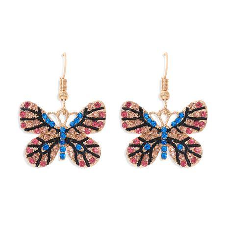 couleur diamant papillon boucles d'oreilles couleur insecte exagéré crochet d'oreille multi-couleur super flash plein diamant boucles d'oreilles en gros nihaojewelry NHJQ227712's discount tags
