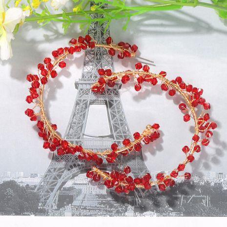 perles rouges enroulement boucles d'oreilles rondes boucles d'oreilles symétriques boucles d'oreilles à la mode en gros nihaojewelry NHJQ227714's discount tags