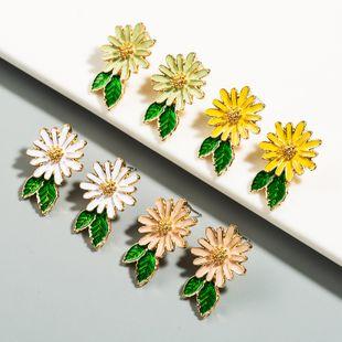 Korean 925 silver flower earrings alloy dripping simple girl earrings wholesale nihaojewelry NHLN227716's discount tags