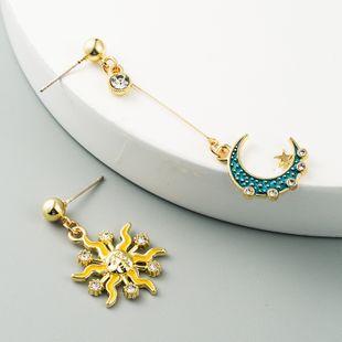 new asymmetric hollow sun moon alloy diamond earrings Korean fashion earrings wholesale nihaojewelry NHLN227717's discount tags