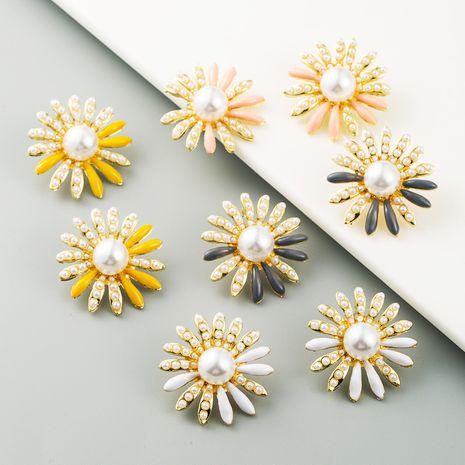 new sunflower alloy pearl earrings ladies S925 silver flowers fashion earrings wholesale nihaojewelry NHLN227720's discount tags