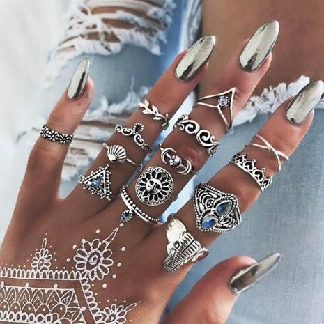 vintage ethnic style jewelry blue rhinestone love leaves moon scallop elephant ring 14 piece set wholesale nihaojewelry NHGY227747's discount tags