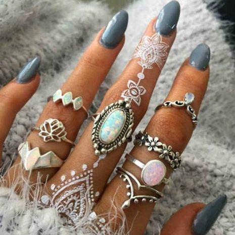 fashion flower rings wholesale lotus big gem ring 8 piece set ring women wholesale nihaojewelry NHGY227749's discount tags