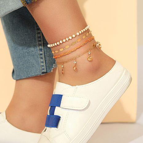 cheville souhait rétro bohème plage style blanc riz perles diamant multi-couche bracelet de cheville ensemble en gros nihaojewelry NHGY227750's discount tags