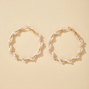 Korean simple spiral pearl girl heart earrings exaggerated wild earrings wholesale nihaojewelry NHGY227760's discount tags
