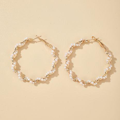 Coréen simple spirale perle fille coeur boucles d'oreilles exagérées boucles d'oreilles sauvages en gros nihaojewelry NHGY227760's discount tags