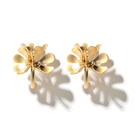 new exquisite metal flower earrings fashion exaggerated personality multi-layer large petal earrings wholesale nihaojewelry NHGY227764's discount tags
