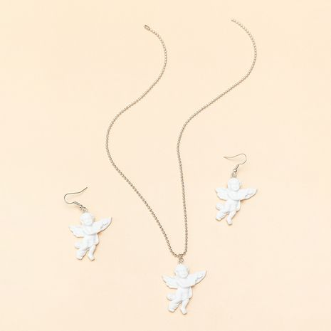ornaments cool Cupid wings angel pendant retro couple necklace wholesale nihaojewelry NHNZ227768's discount tags