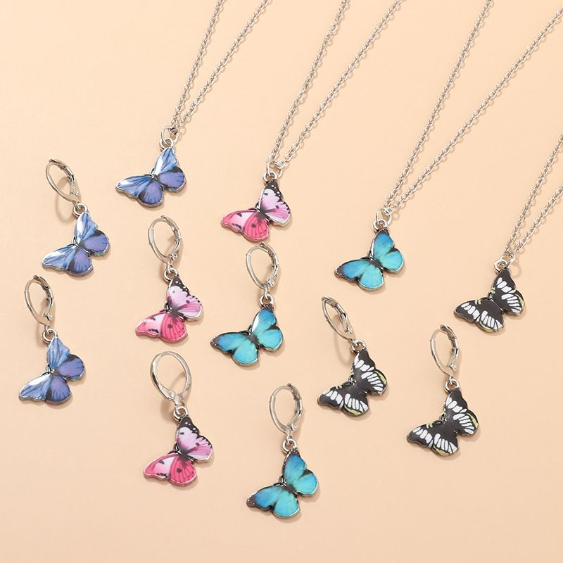 jewelry trend temperament alloy dripping pendant wild small butterfly necklace wholesale nihaojewelry NHNZ227769