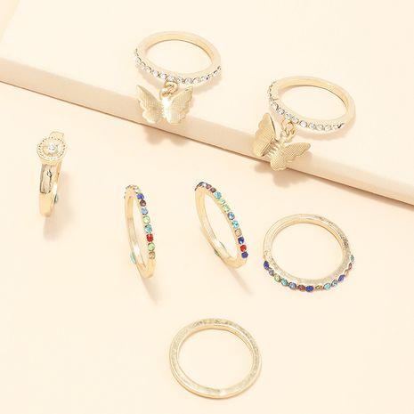 mode anneaux ensemble simple géométrique ensemble anneau incrusté couleur diamant bague papillon index doigt bague en gros nihaojewelry NHNZ227774's discount tags