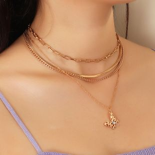 fashion jewelry punk metal snake chain fashion multilayer butterfly necklace wholesale nihaojewelry NHNZ227777's discount tags