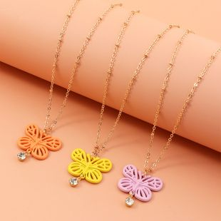 fashion Jewelry Wholesale Simple Painted Color Small Butterfly Necklace Personalized Clavicle Chain wholesale nihaojewelry NHNZ227784's discount tags