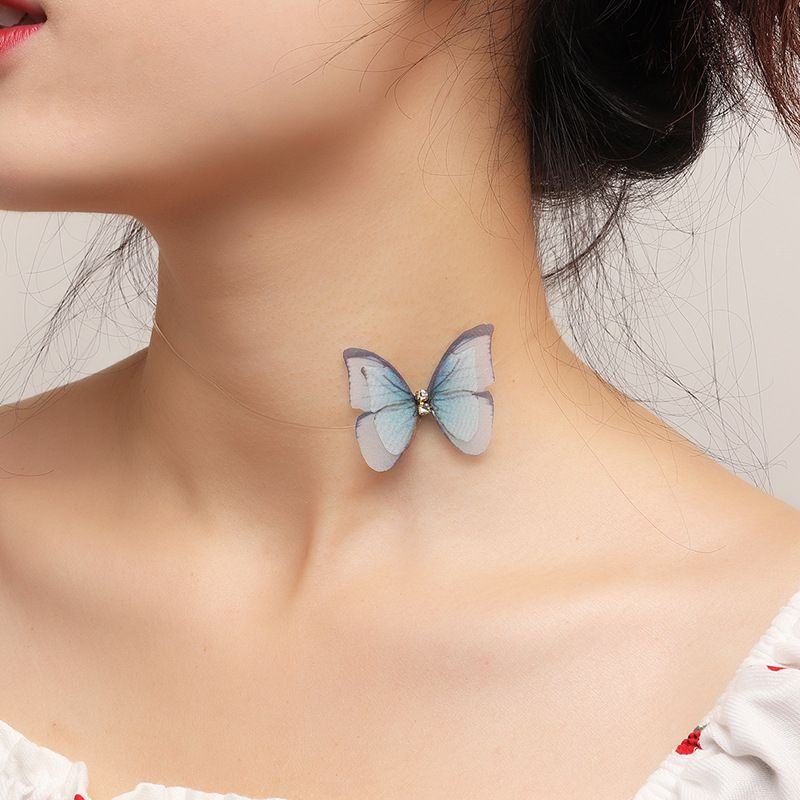 fashion jewelry fantasy three-dimensional tulle butterfly necklace design girl butterfly clavicle chain wholesale nihaojewelry NHNZ227787