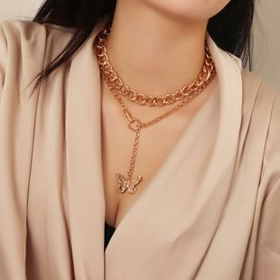 fashion jewelry punk style thick chain metal neck chain simple butterfly necklace wholesale nihaojewelry NHNZ227788's discount tags