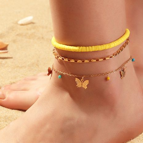 fashion jewelry ceramic anklet wild butterfly rice beads anklet wholesale nihaojewelry NHNZ227793's discount tags