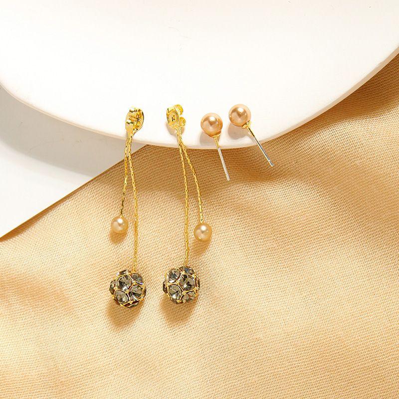 Fashion wild pearl earrings diamond copper ball earrings long section super fairy tassel earrings wholesale nihaojewelry NHQD227826