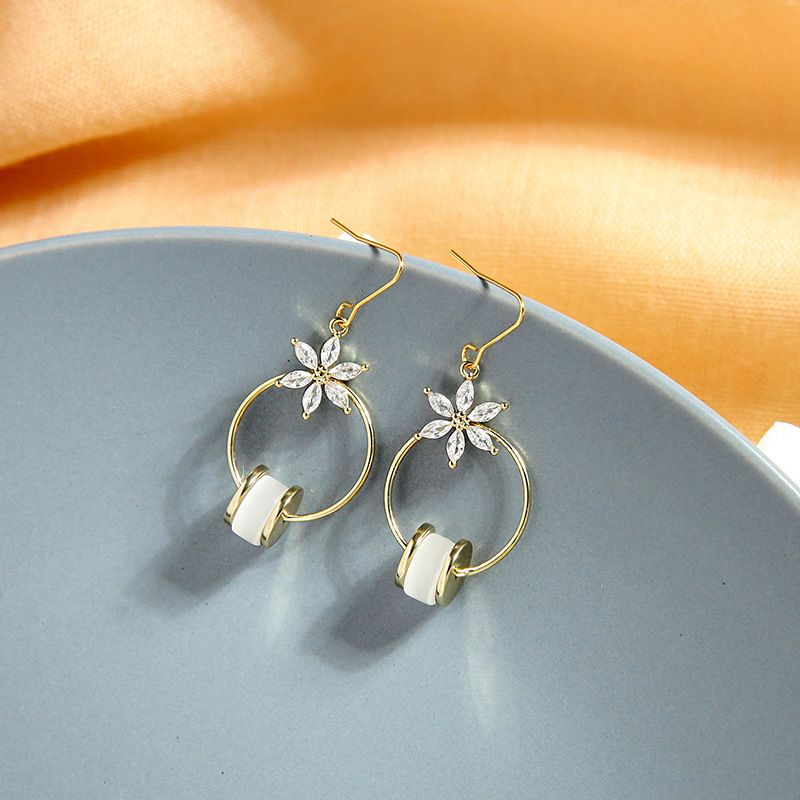 super fairy earrings zircon flower earrings hollow ring opal earrings wholesale nihaojewelry NHQD227832