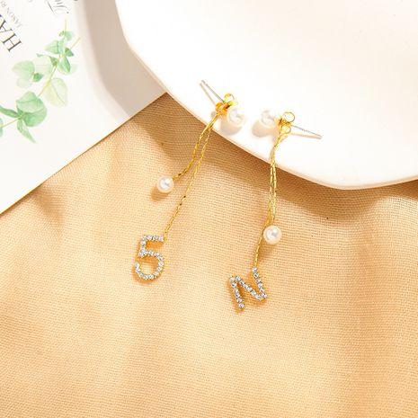 s925 silver needle earrings creative long letter earrings wild digital pearl earrings wholesale nihaojewelry NHQD227833's discount tags