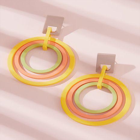 Boucles d'oreilles cercle géométrique rétro multicouche de mode coréenne tendance simple exagéré boucles d'oreilles minces en gros nihaojewelry NHKQ227857's discount tags