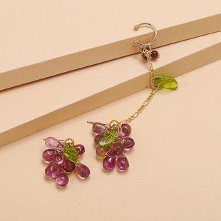 new fruit earrings fashion forest tide purple grape asymmetric earrings wholesale nihaojewelry NHKQ227859's discount tags