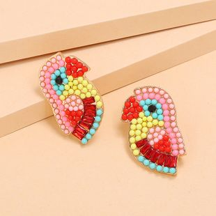 bird earrings fashion retro exaggerated color diamond earrings wholesale nihaojewelry NHKQ227860's discount tags