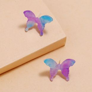 Korea new fashion butterfly earrings retro three-dimensional color acrylic acetate earrings wholesale nihaojewelry NHKQ227861's discount tags