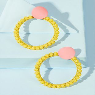 retro exaggerated geometric round advanced earrings fashion trend creative face thin earrings wholesale nihaojewelry NHKQ227867's discount tags