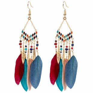 fashion feather earrings drop-shaped tassel earrings wild temperament earrings  NHCT227893's discount tags