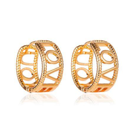nouvelles boucles d'oreilles créoles en métal boucles d'oreilles boucle d'oreille dames simple lettre anglaise boucles d'oreilles creuses en gros nihaojewelry NHMO227926's discount tags