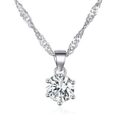 new necklace wild ladies fashion classic sixclaw zircon pendant necklace clavicle chain wholesale nihaojewelry NHMO227940