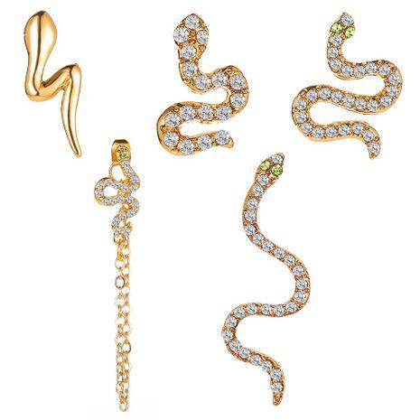 clip earrings five-piece set full diamond snake earrings punk style street fashion earrings wholesale nihaojewelry NHMO227944's discount tags