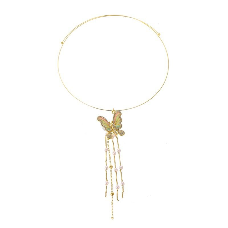 new necklace exaggerated tassel butterfly pearl collar necklace ladies trend wild neck ornaments wholesale nihaojewelry NHMO227946