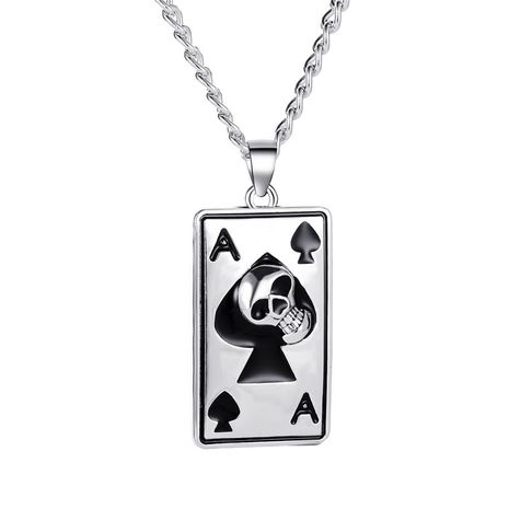 new necklace punk style retro long spade sweater chain street hip hop playing card necklace wholesale nihaojewelry NHMO227949's discount tags