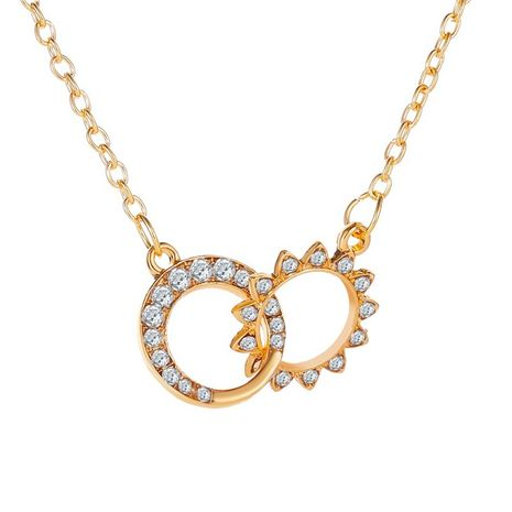 New Necklace Sun Moon Necklace Creative Diamond Double Ring Necklace Clavicle Chain wholesale nihaojewelry NHMO227964's discount tags