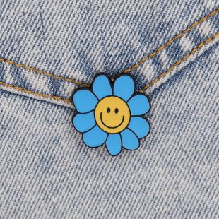 new daisy smiley brooch simple and compact style blue small daisy sun flower brooch wholesale nihaojewelry NHMO227968's discount tags