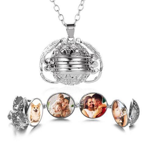 New multi-layer wings photo box necklace locket retro photo box aromatherapy pendant wholesale nihaojewelry NHMO227979's discount tags