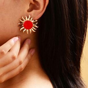 sun flower stud earrings women fashion gold-plated sun earrings ladies street shooting fashion oil drop earrings NHOT228007's discount tags